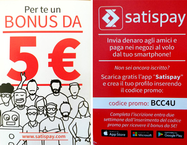 coupon satispay